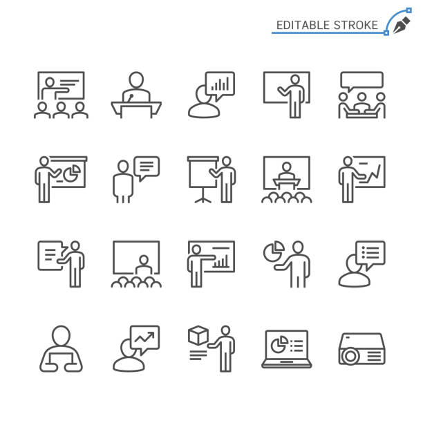business presentation line icons. editable stroke. pixel perfect. - icons stock illustrations