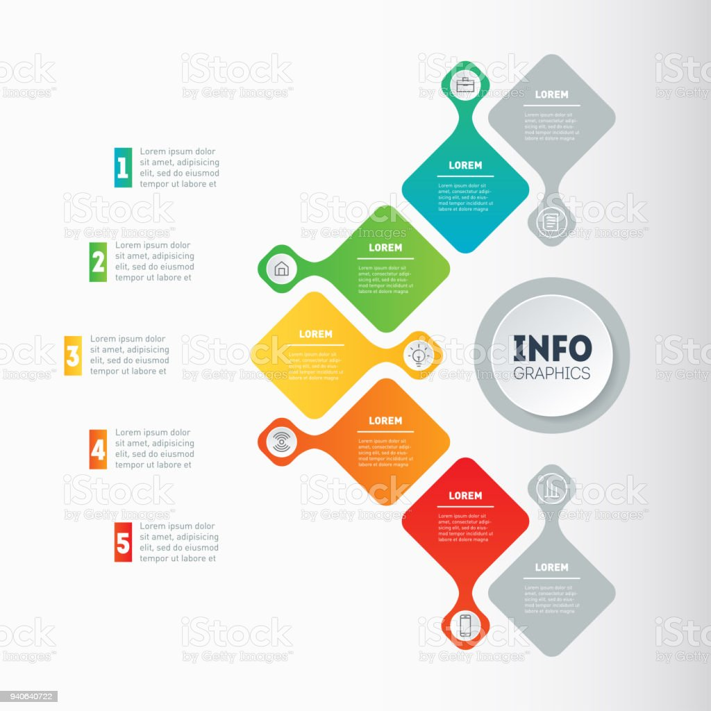 Business Presentation Or Infographic With 5 Options Web Template Of ...