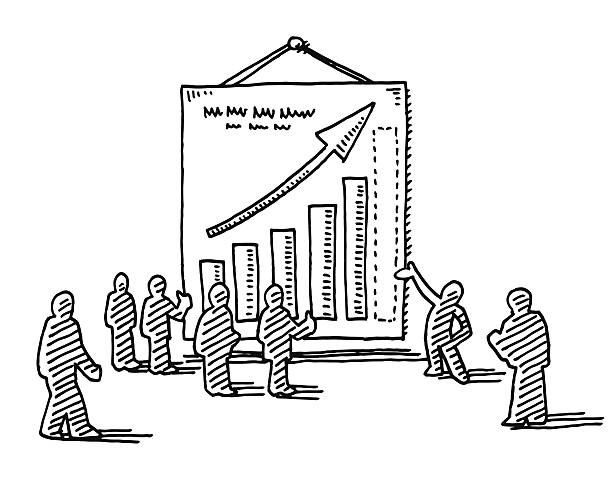 Business Presentation Poster Success Graph Drawing Hand-drawn vector drawing of a Business Presentation with Businesspeople looking at a Poster with a Success Graph. Black-and-White sketch on a transparent background (.eps-file). Included files are EPS (v10) and Hi-Res JPG. business stock illustrations
