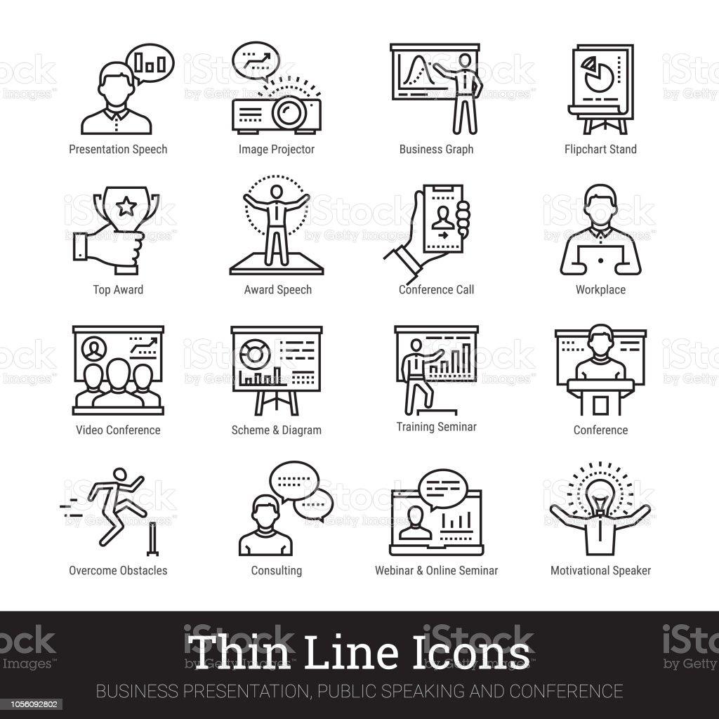 Comercial presentación, discurso público, orador inspirador los iconos lineal. Colección de imágenes prediseñadas vector ilustraciones aislada sobre fondo blanco. - ilustración de arte vectorial