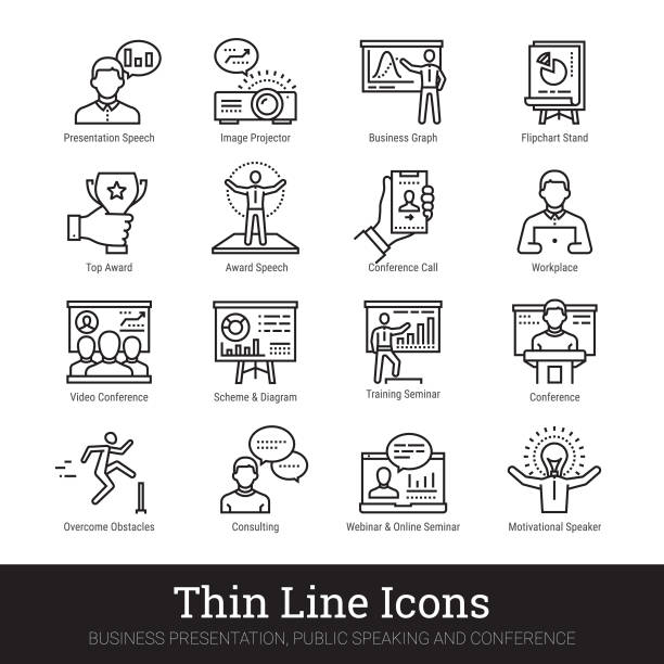 ilustrações de stock, clip art, desenhos animados e ícones de business presentation, public speech, inspirational speaker linear icons. vector illustrations clipart collection isolated on white background. - webinar anuncio