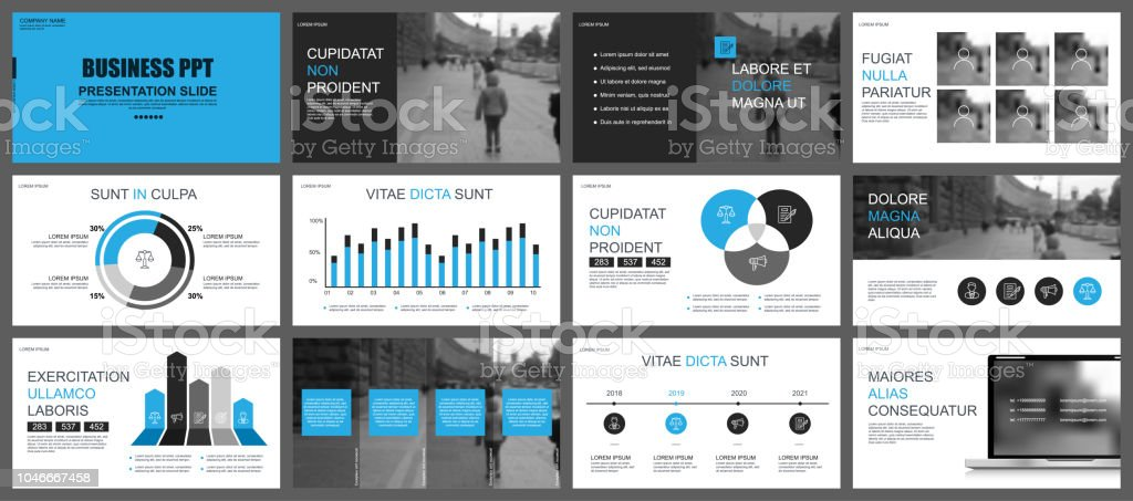 Business presentation slides templates from infographic elements. royalty-free business presentation slides templates from infographic elements stock illustration - download image now