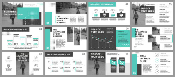 Business presentation slides templates from infographic elements Business presentation slides templates from infographic elements. Can be used for presentation template, flyer and leaflet, brochure, corporate report, marketing, advertising, annual report, banner. presentation stock illustrations