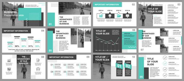 Business presentation slides templates from infographic elements – artystyczna grafika wektorowa