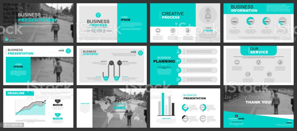 Business presentation slides templates from infographic vector art illustration