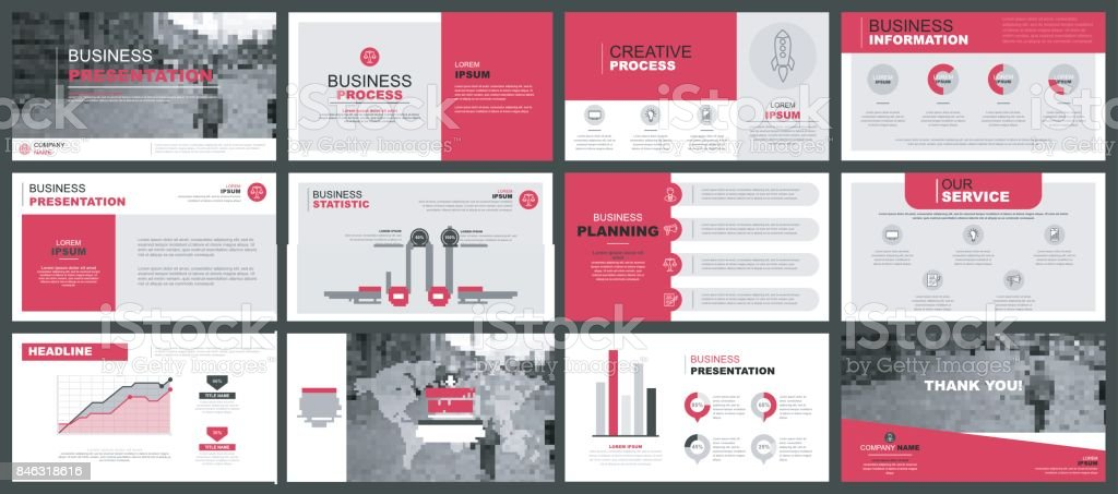 Business presentation slides templates vector art illustration