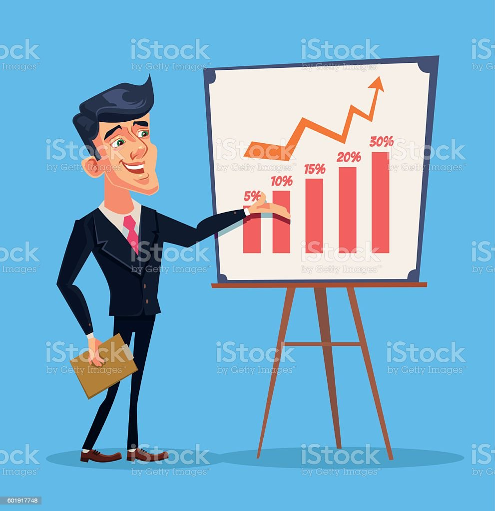 Business presentation. Successful businessman character vector art illustration