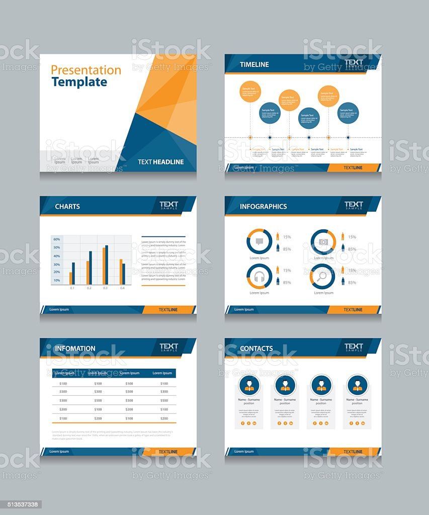 business presentation template set. vector art illustration