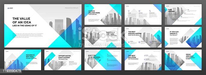 istock Business presentation templates set 1193590475