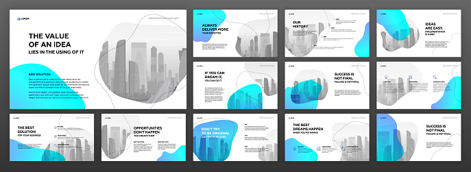 Business presentation templates set