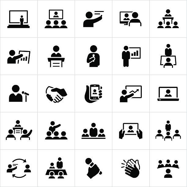 geschäftliche präsentationen und meetings symbole - meeting stock-grafiken, -clipart, -cartoons und -symbole
