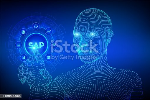 SAP Business process automation software. ERP enterprise resources planning system concept on virtual screen. Wireframed cyborg hand touching digital interface. AI. Vector illustration