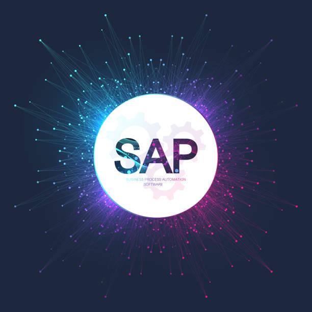 SAP Business Prozessautomatisierungssoftware. ERP Enterprise Resources Planning Systemkonzept-Bannervorlage. Technologie Zukunfts-Sci-Fi-Konzept SAP. künstliche intelligenz. Vektor-Illustration – Vektorgrafik