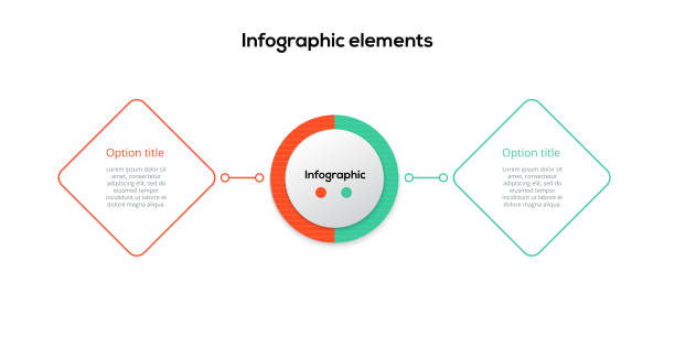 bildbanksillustrationer, clip art samt tecknat material och ikoner med affärs process diagram infographics med 2 steg rhombs. fyrkantiga företag arbets flöde grafiska element. presentations bild mal len för företags flödes schema. vektor information grafisk design. - två objekt