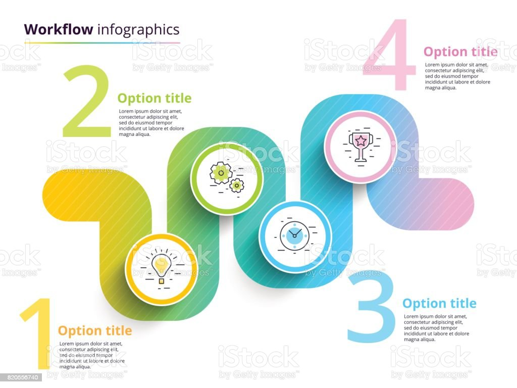 Business Process Chart Infographics With 4 Step Circles
