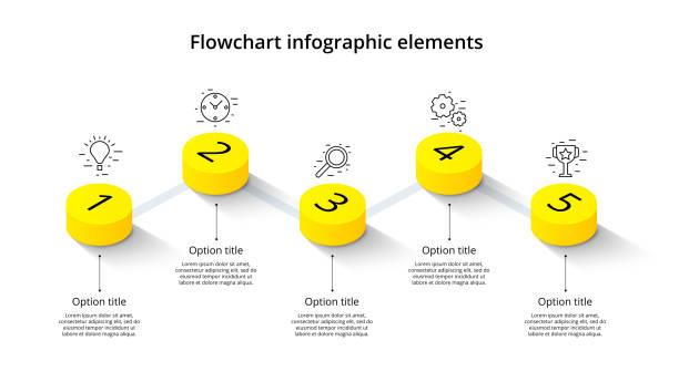 5 つのステップ セグメントとビジネス プロセス グラフ インフォ グラフィック等尺性 3 d 年表 infograph 要素です。会社のプレゼンテーションのスライドのテンプレートです。現代ベクトル情� - ステップ点のイラスト素材/クリップアート素材/マンガ素材/アイコン素材