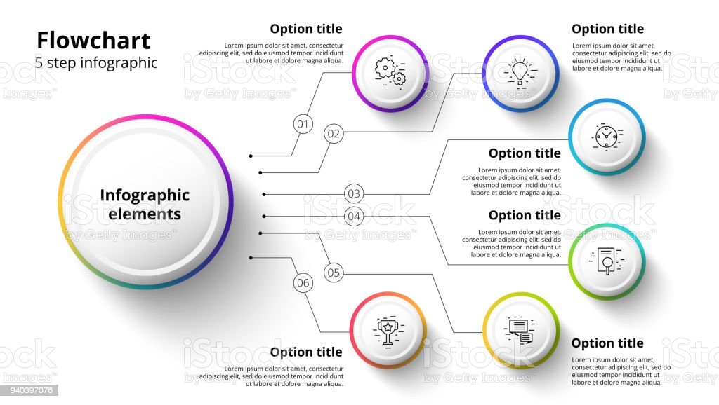Business process chart infographics with 6 step segments. Circular corporate timeline infograph elements. Company presentation slide template. Modern vector info graphic layout design. vector art illustration