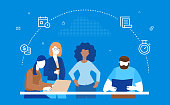 Business process - flat design style illustration on blue background. Colorful composition with international team, employees discussing a project at the desk, images of planner, timer, pile of coins