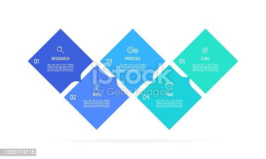 istock Business process infographic template. Colorful rectangular elements with numbers 5 options or steps. Vector illustration graphic design 1202774115
