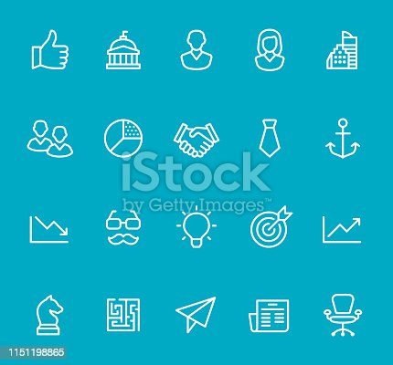 Pixel Perfect - Isolated on Blue - Icon Set #99 - Business Process Icons are designed in 48x48pх square, outline stroke 2px.  First row of outline icons contains:  Thumbs Up, Washington DC, Businessman, Businesswomen, Financial Building;  Second row contains:  Teamwork, Pie Chart, Handshake, Necktie, Anchor icon;  Third row contains:  Graph Down, Eyeglasses and Mustache, Light Bulb, Target, Graph Up;   Fourth row contains:  Chess Knight, Maze icon, Paper Airplane, News, Office Chair.  Complete Bimico collection - https://www.istockphoto.com/collaboration/boards/t8tfiS1uqEecwP9AO9SJmw