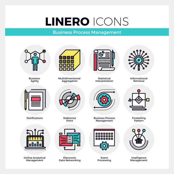 Business Process Management Linero Icons Set vector art illustration