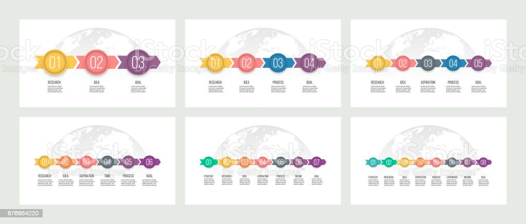 Business process. Presentations with 3, 4, 5, 6, 7, 8 steps, options, arrows. Vector templates. royalty-free business process presentations with 3 4 5 6 7 8 steps options arrows vector templates stock illustration - download image now