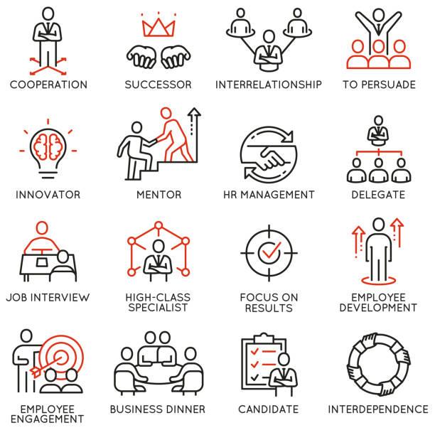 ikony procesu biznesowego, relacji i zarządzania zasobami ludzkimi - umiejętność stock illustrations