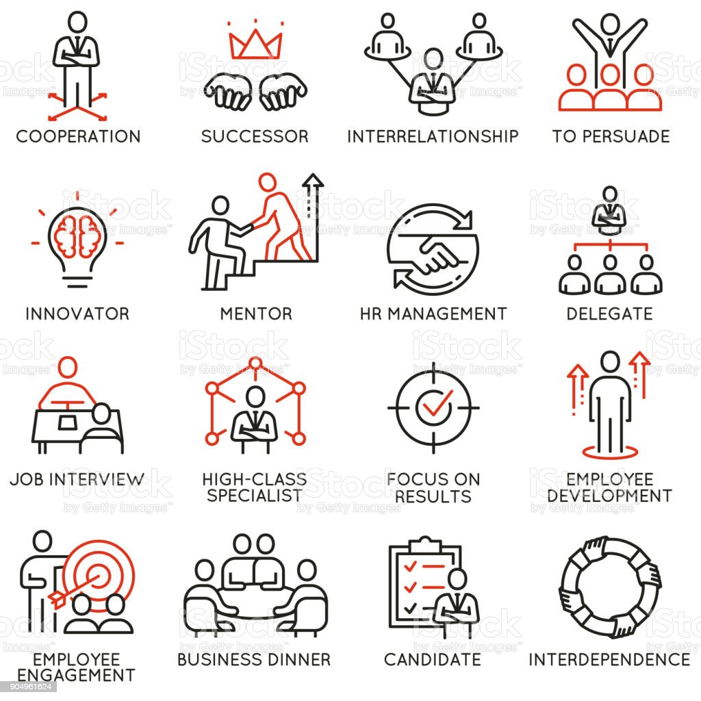 Business process, relationship and human resource management icons vector art illustration