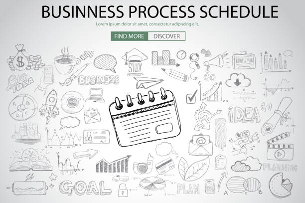 Business Process Schedule with Doodle design style vector art illustration