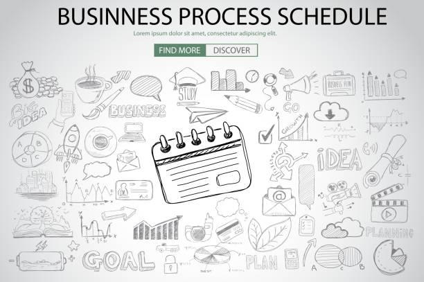 illustrations, cliparts, dessins animés et icônes de calendrier processus d'affaires avec doodle style - chef de projet