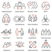 Business process, team work and human resource management icons