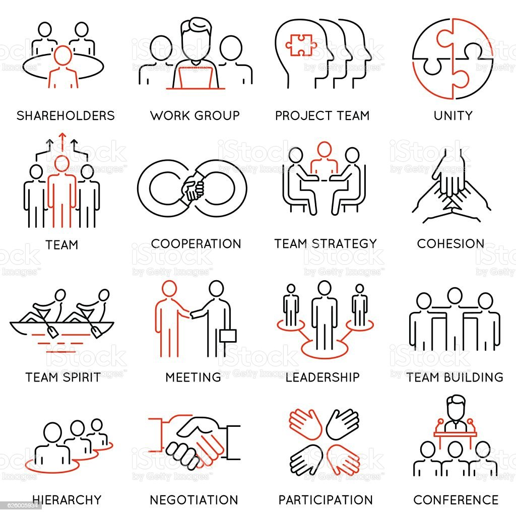 Business process, team work and human resource management icons vector art illustration