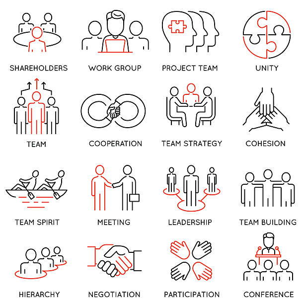 business process, team work and human resource management icons - gelenek stock illustrations