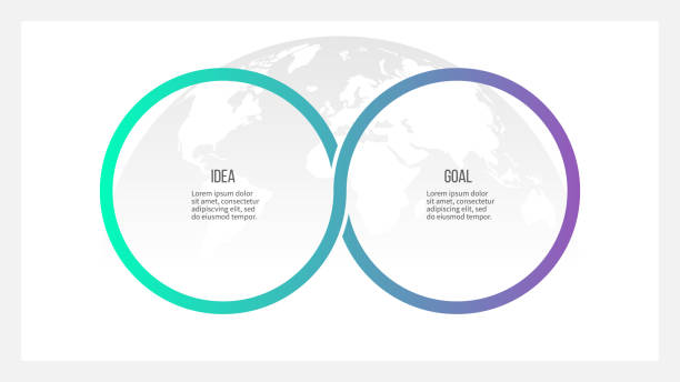 business process. timeline infographics with 2 options, circles. vector template. - dwa przedmioty stock illustrations