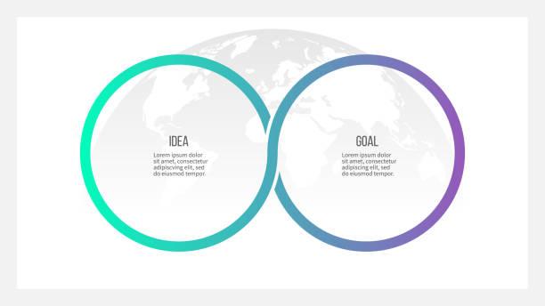 bildbanksillustrationer, clip art samt tecknat material och ikoner med affärsprocess. tidslinjen infografik med 2 alternativ, cirklar. vector mall. - två objekt
