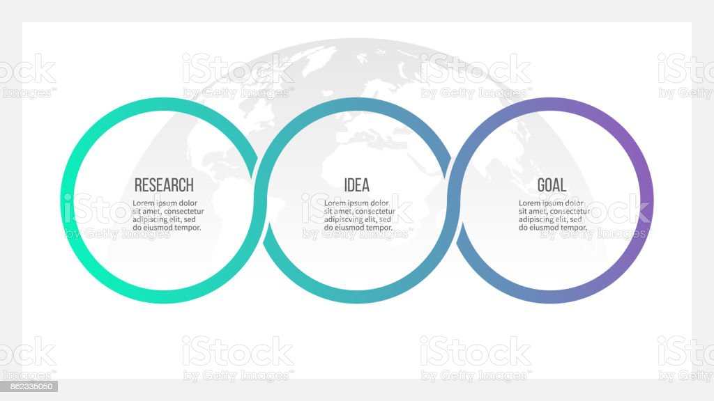 Business process. Timeline infographics with 3 options, circles. Vector template. vector art illustration
