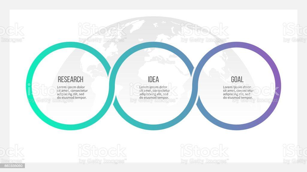 Proceso de negocio. Infografías de la línea de tiempo con 3 opciones, círculos. Plantilla de vector. - ilustración de arte vectorial