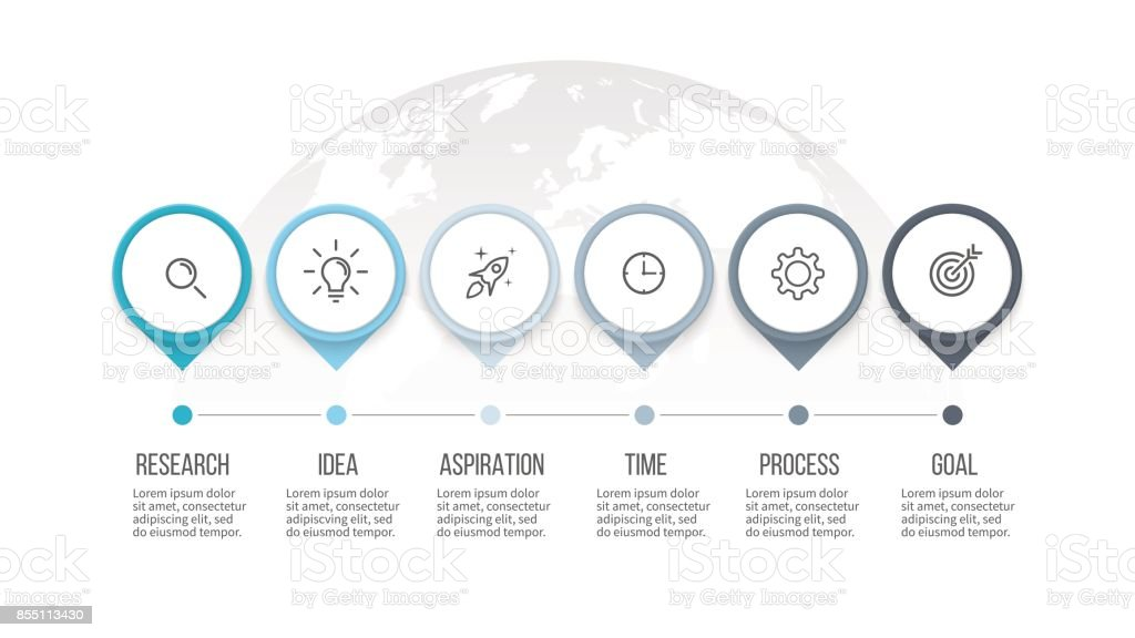 Business process. Timeline infographics with 6 steps, options, arrows. Vector template. royalty-free business process timeline infographics with 6 steps options arrows vector template stock illustration - download image now
