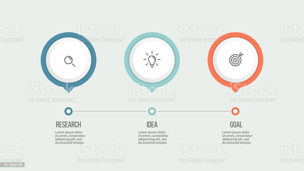 Business process. Timeline with 3 options. Vector template. vector art illustration