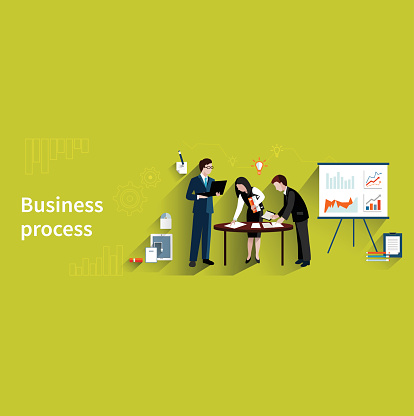 business process with professional team vector clipart