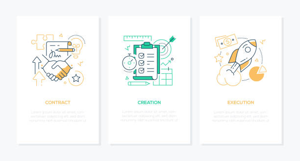 Business processes - line design style banners set vector art illustration