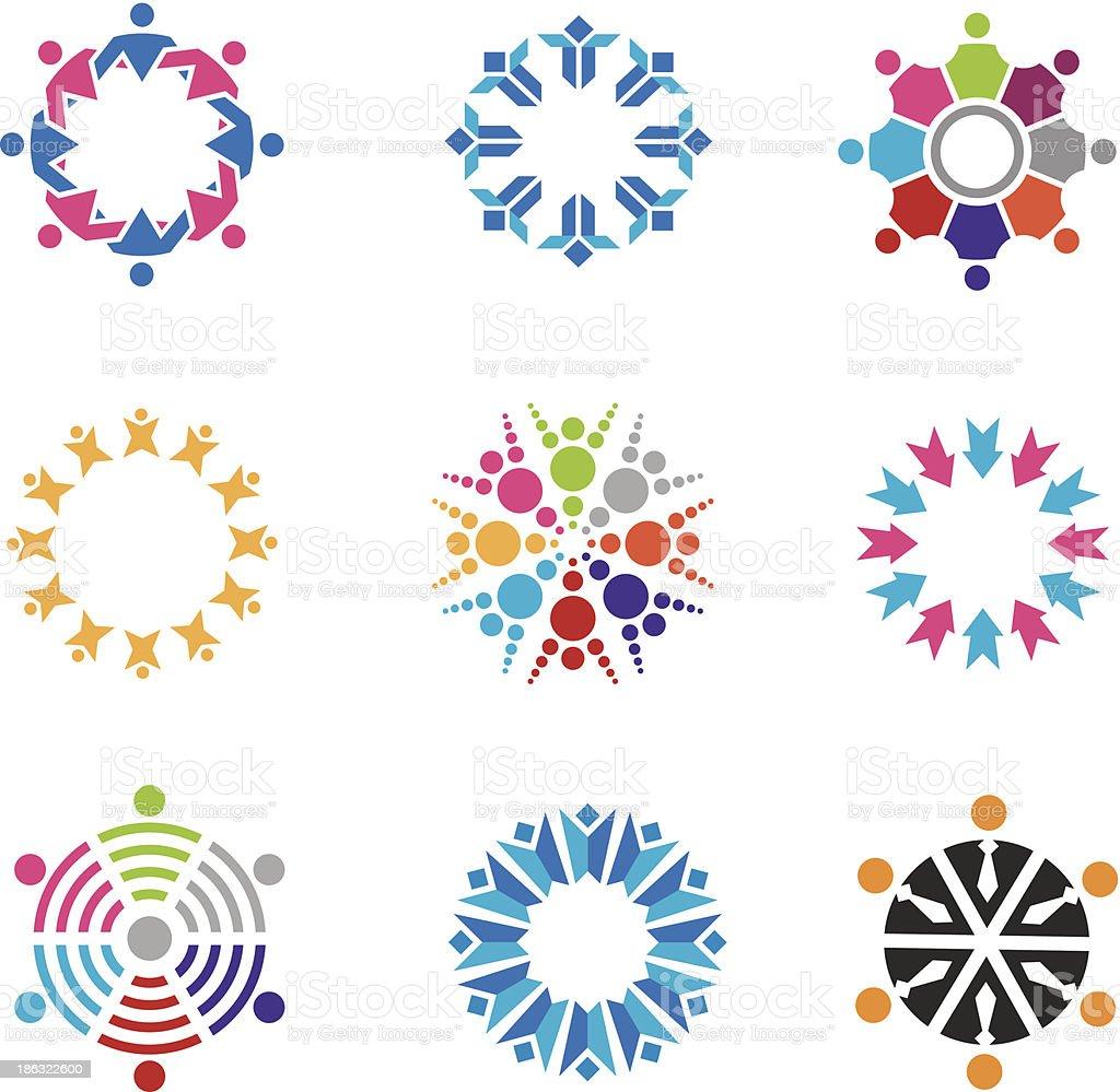 Business professional social set for world community network and media vector art illustration