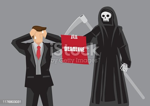 Business professional break down in front of Death character holding a board with text Deadline. Creative cartoon vector illustration on stressful deadline and time management at work.