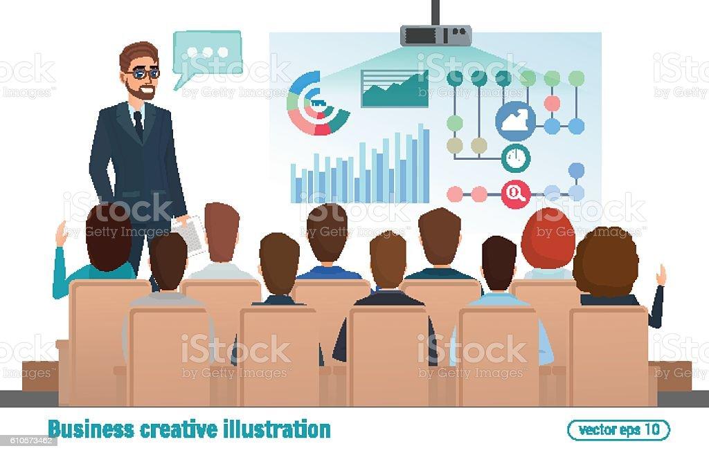 business professional work team meeting man speaks presentation