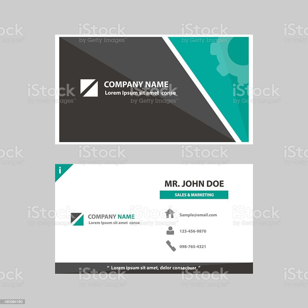 business profile card company template flat design vector art illustration