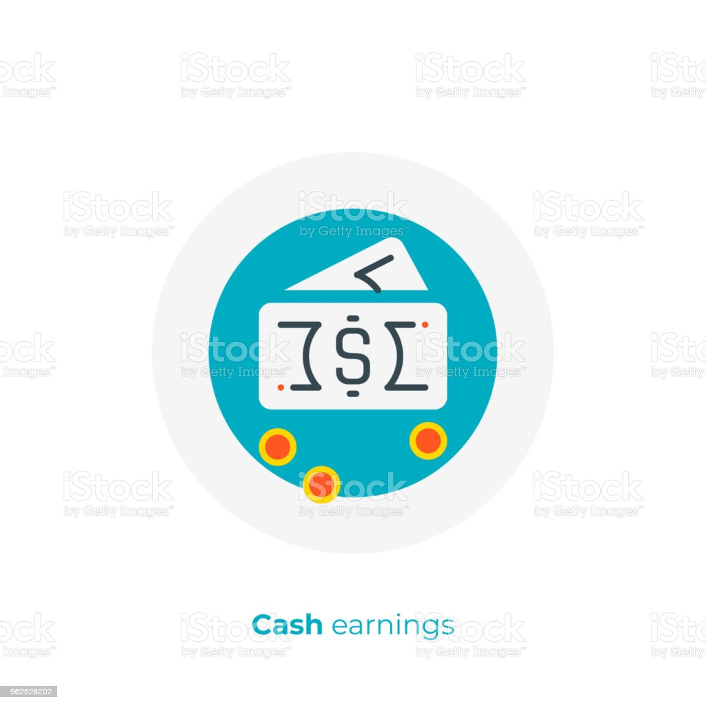 Business profit flat art icon, investition earnings vector art, cartoon online cash exchange illustration - Royalty-free Banking stock vector