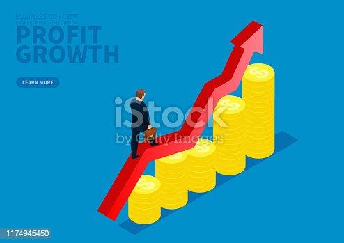 Business profit growth, businessman walking on growing arrow