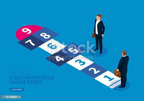 Business progress concept, red hopscotch game begins