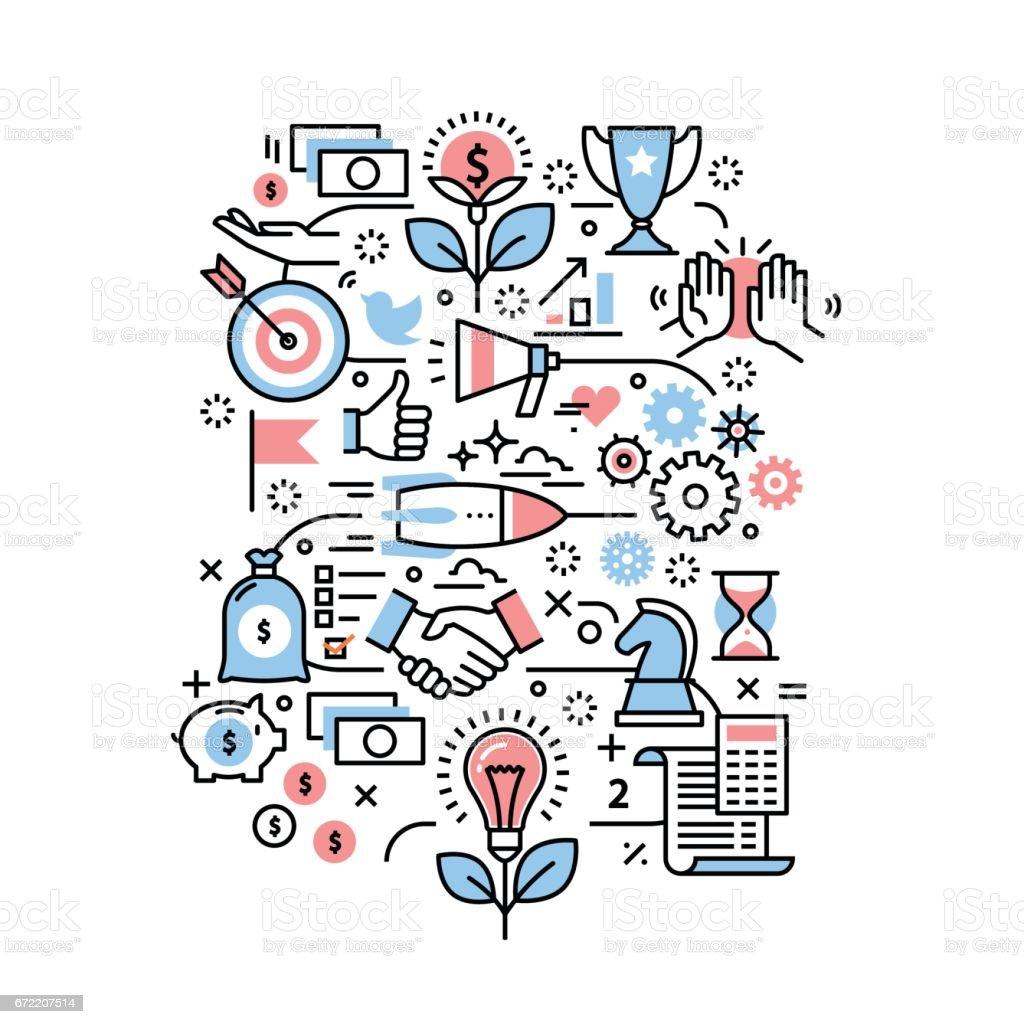 Conceito de projeto de negócios. Ícones modernos linha fina - ilustração de arte em vetor