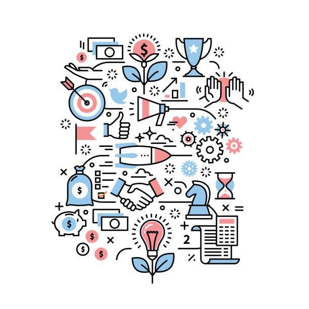 Concepto de proyecto de negocio. Iconos de la moderna línea fina - ilustración de arte vectorial